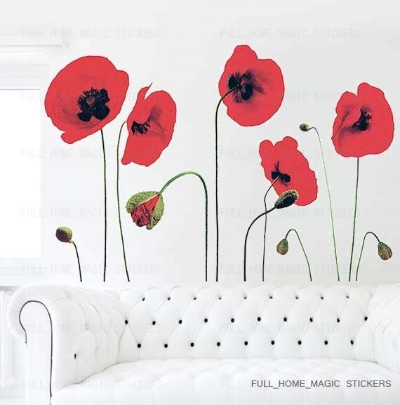 RED POPPY FLOWERS Wall Stickers Mural Art Decals Wallpaper