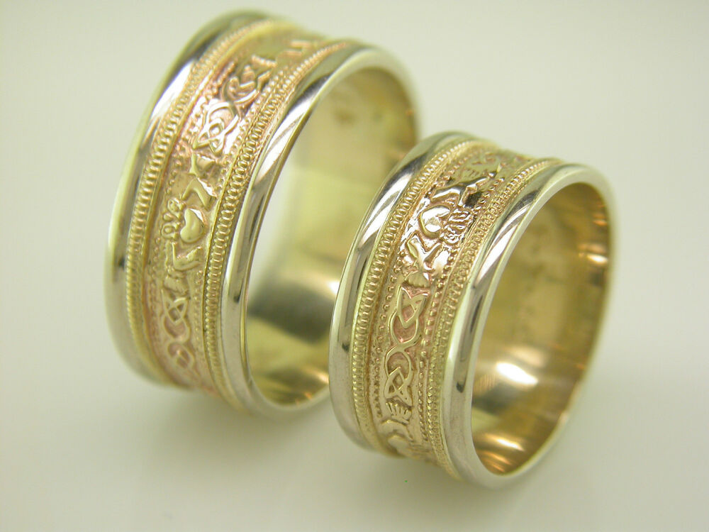 14k Gold And White Gold Irish Handcrafted Claddagh Celtic Wedding Ring Set
