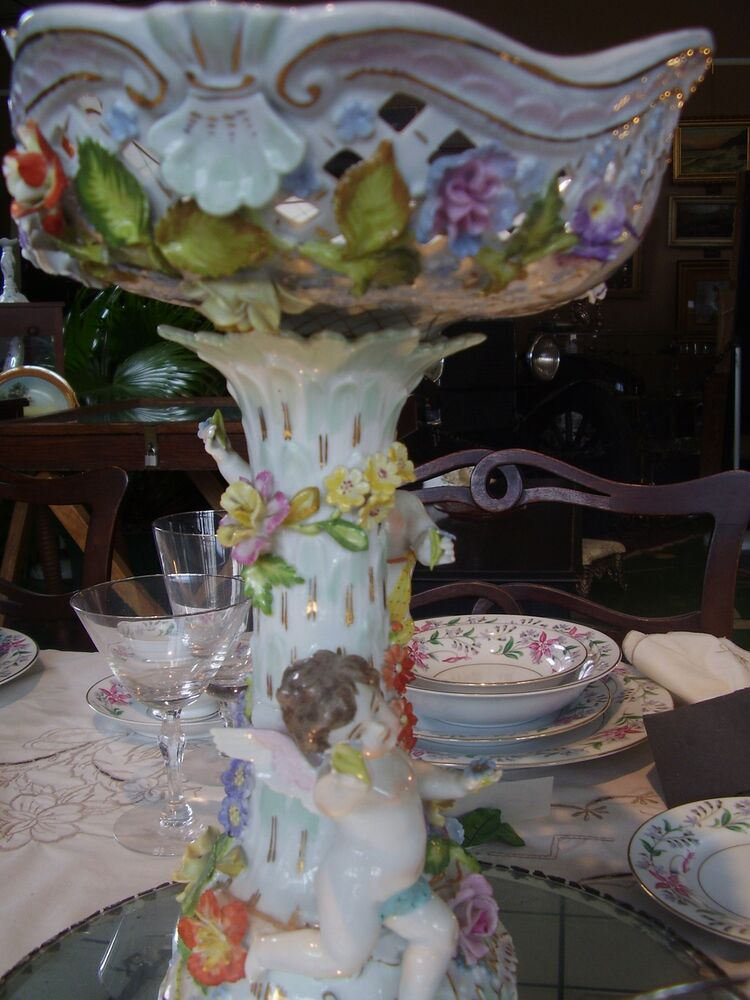 Wow c dresden mark angel cherub flowers centerpiece