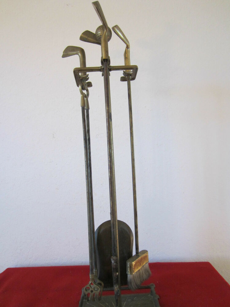 vintage set of 5 piece brass golf fireplace implements ebay. Black Bedroom Furniture Sets. Home Design Ideas