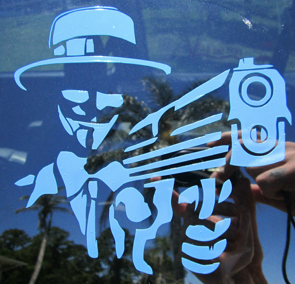 Anonymous Mask W Gun Decal Vinyl Sticker Anon 4chan 9gag