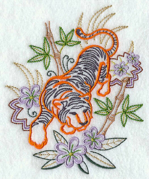 Tiger in bamboo new design embroidered set 2 bathroom hand for Bathroom embroidery designs