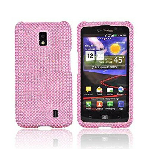 For LG Spectrum Crystal Diamond BLING Case Snap On Phone Cover Curve ...