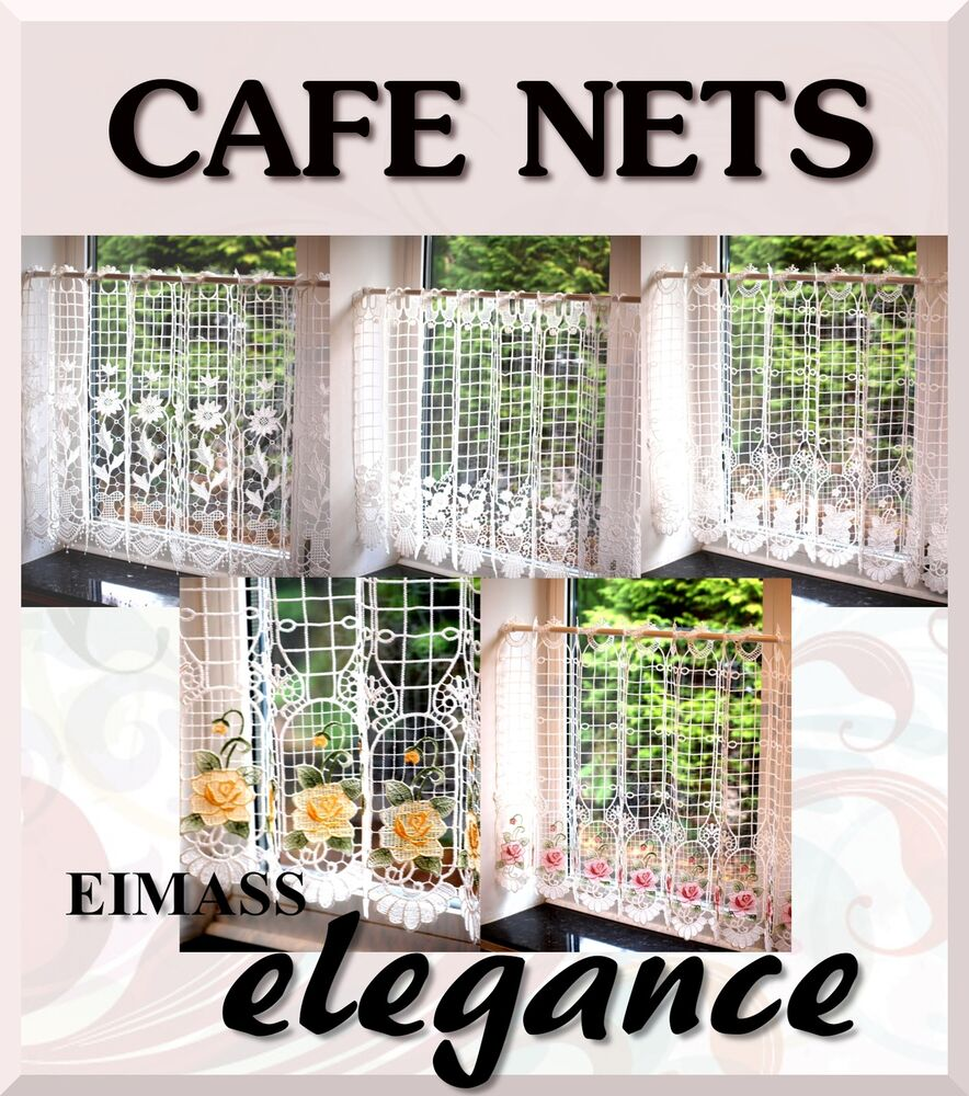 Macrame Lace Ready Made Cafe Net Kitchen Curtain Panel Ebay