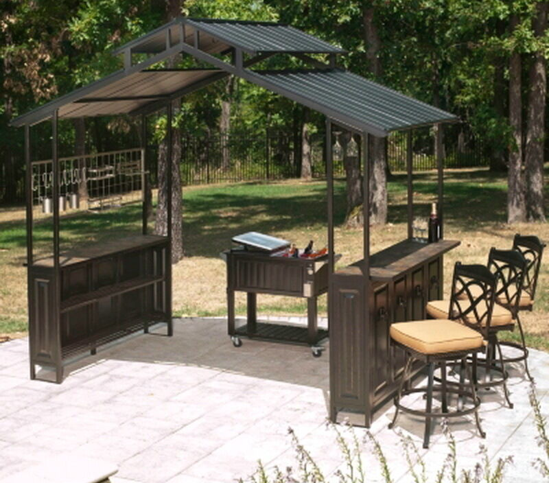 New Large Steel Frame Grill Gazebo Outdoor Bar Vented Hard