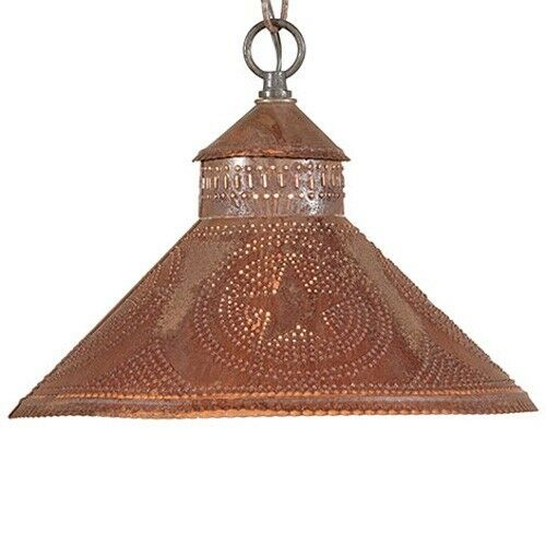Stockbridge Shade Light In Rustic Tin W/ Stars