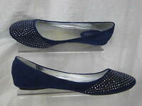 """LADIES SPOT ON BLUE FLAT SHOE WITH SILVER COLOURED BEADS """"F8567"""""""