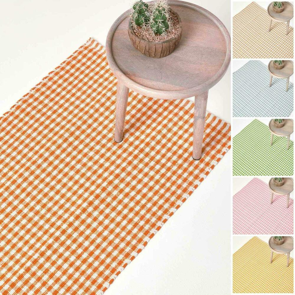 Washable Cotton Gingham Rugs Pink Blue Beige Green Orange
