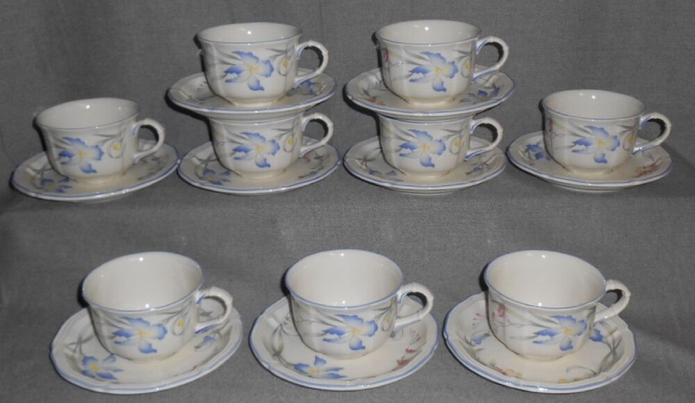 set 9 villeroy boch riviera pattern cup and saucers luxembourg ebay. Black Bedroom Furniture Sets. Home Design Ideas