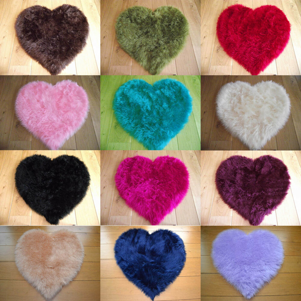 Fluffy Childrens Kids Bedroom Rugs Mat Girls Boys Heart