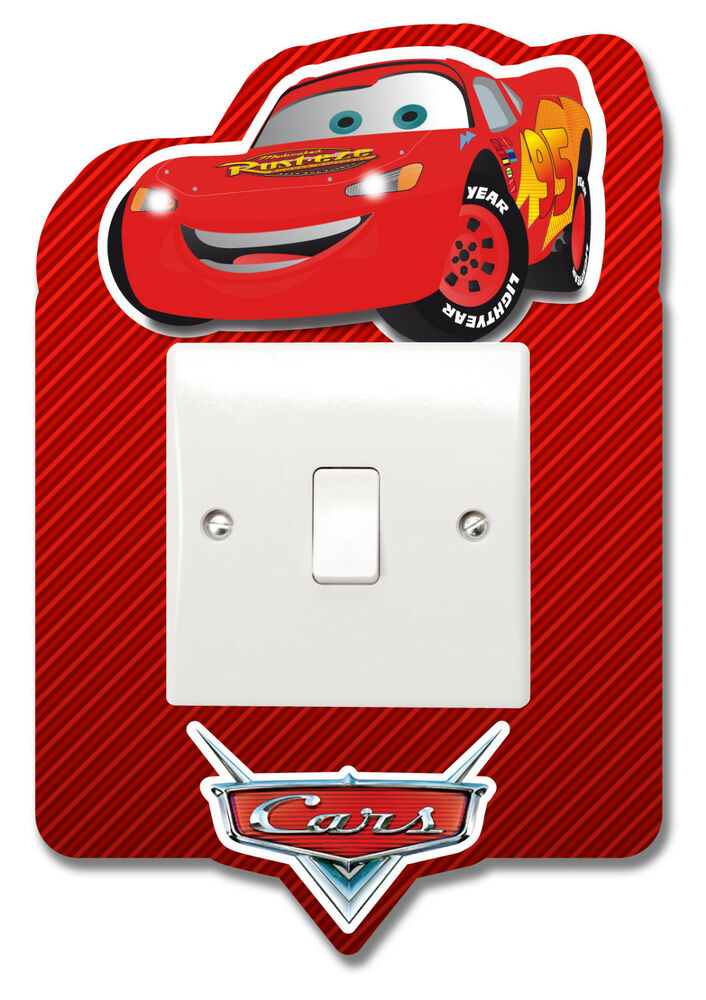 cars lightning mcqueen light switch vinyl sticker surround. Black Bedroom Furniture Sets. Home Design Ideas