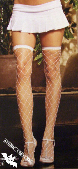 62da6a7234a White Fishnet Thigh High Stockings Highs Patterned Tights Hi Fishnets Over  Knee