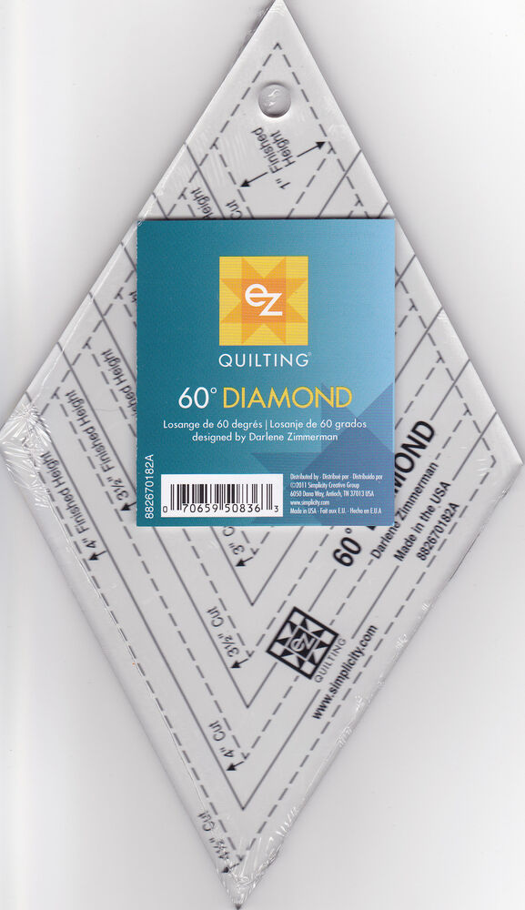 Ruler Templates For Quilting : Easy 60 Degree Clear Diamond EZ Quilt Template Ruler eBay