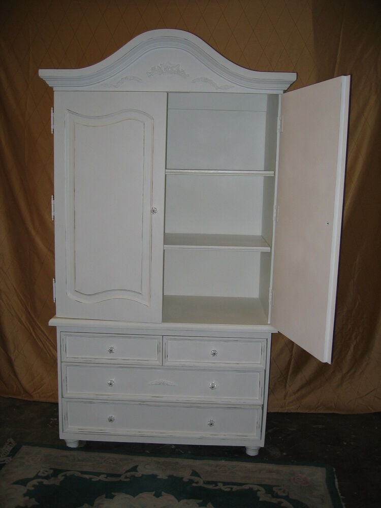 new shabby chic distressed cottage white antique armoire. Black Bedroom Furniture Sets. Home Design Ideas