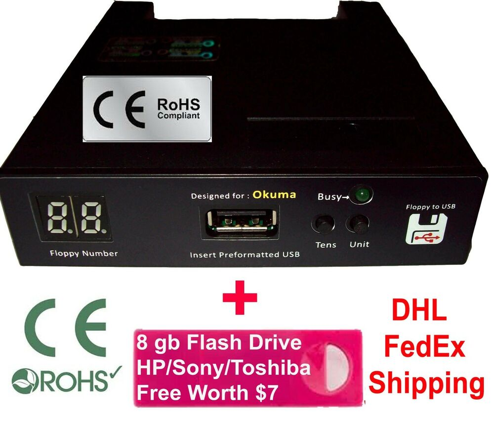 Floppy Drive To Usb Converter For Okuma Lathe Free 8 Gb Flash Full Compliance Battery Charger 722512236950 Ebay