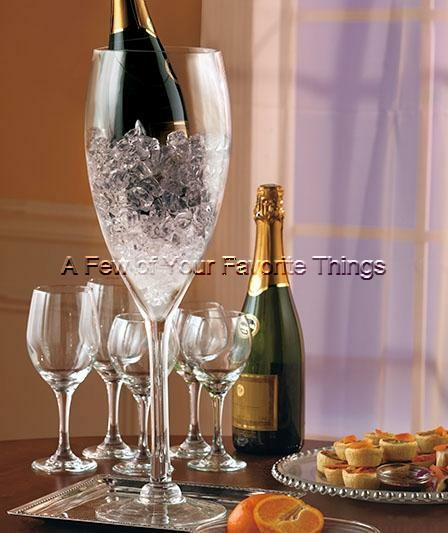 Jumbo wine glass champagne bottle chiller wedding party for Centerpieces made with wine glasses