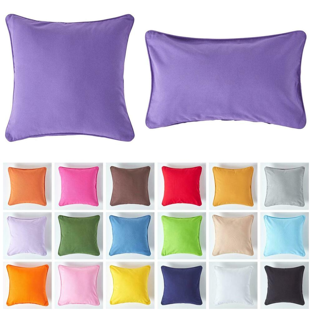 Homescapes 100% Cotton Plain Filled Cushion Covers Square Rectangular Washable eBay