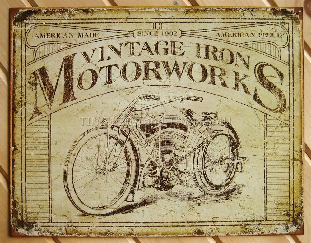 Rustic Bar Wall Decor : Rustic vtg iron motorworks motorcycle tin sign metal wall