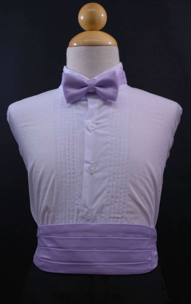Infant Toddler Boy Lilac Cummerbund Cumberband Bow Tie