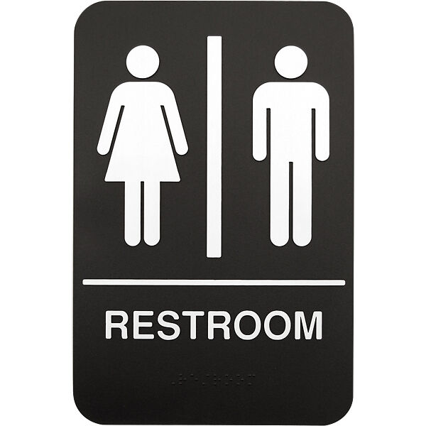 Braille Unisex Plastic Restroom Sign 6 X 9 Bathroom Washroom Lavatory Sign Ebay