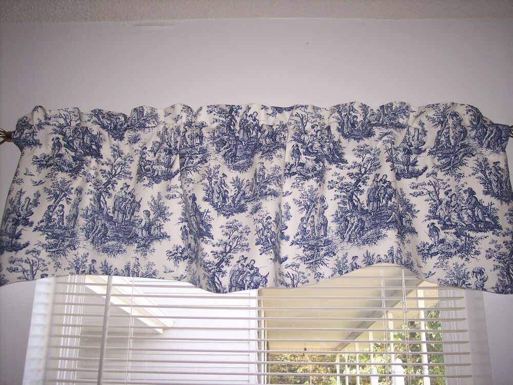 Navy Delft Bluewhitewaverly Rustic Toile Scalloped Lined Valance