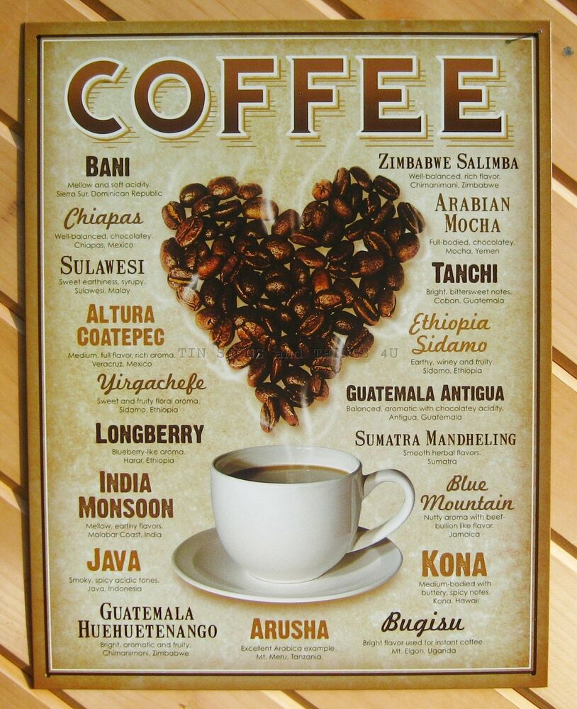 Coffee Cup Bean Heart Tin Sign Diner Shop Metal Wall Home