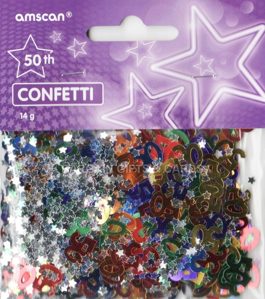 3 pack 50th birthday confetti multi table decoration ideal for Deco table multicolore