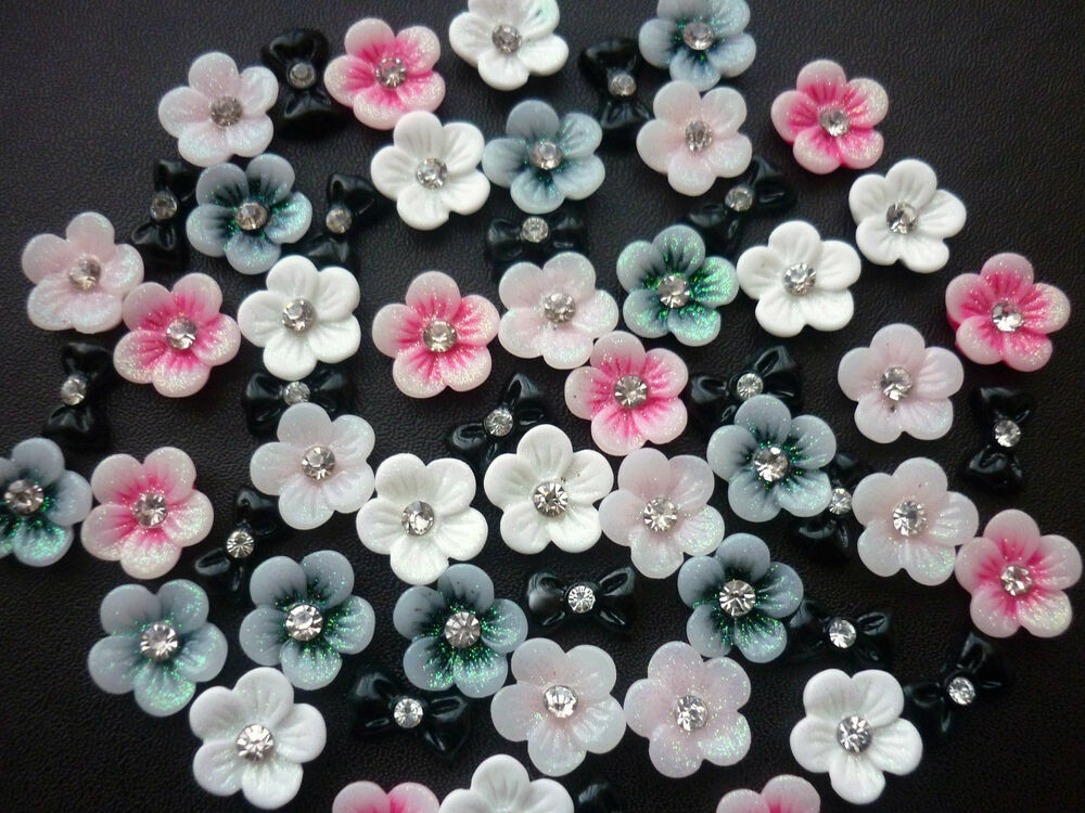 3D Nail Art Bows Flowers Roses With Rhinestone Decoration 12 Pieces