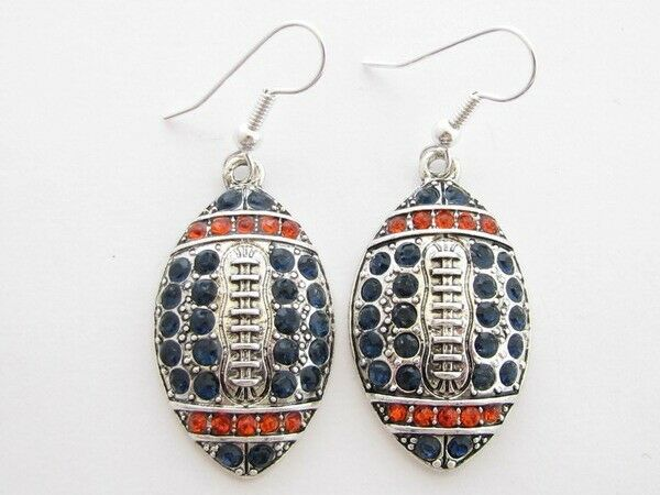 Football navy blue orange crystal earrings jewelry for Best place to sell gold jewelry in chicago