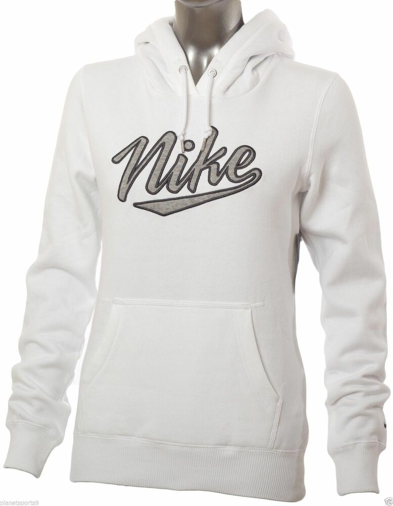 nike women 39 s femme hood sweatshirt new white grey 419732 100 ebay. Black Bedroom Furniture Sets. Home Design Ideas