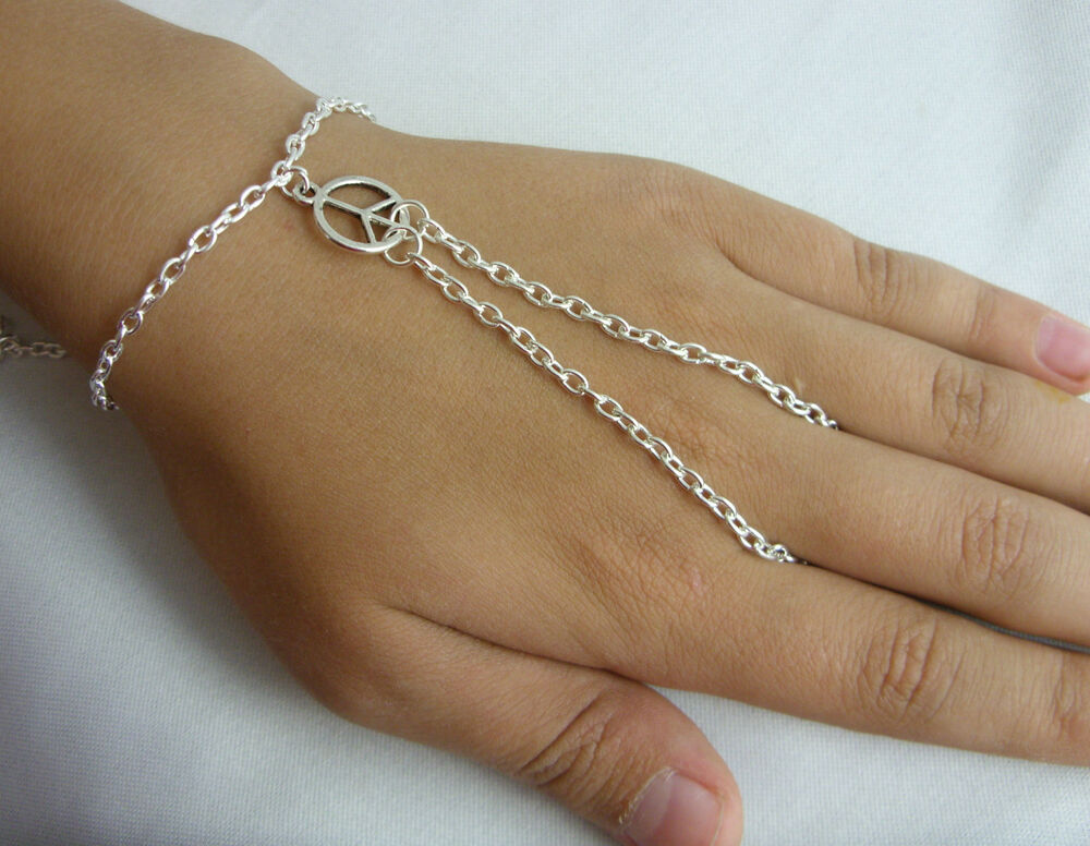 Silver Tone Hand Harness Bracelet Amp Ring Armour Slave
