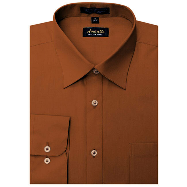 Mens dress shirt plain rust modern fit wrinkle free cotton for Wrinkle free dress shirts amazon