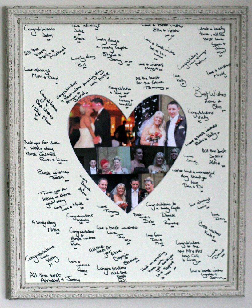 Framed Signature Signing Heart Shaped Board