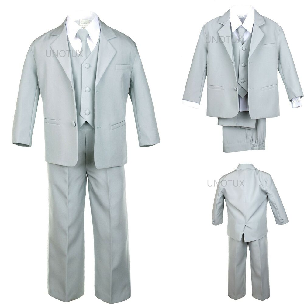 Little boys need formal suits in their wardrobes to be ready for those important family occasions. Our classically tailored five-piece suits are perfect for family, church, or school events. Choose from a full selection of toddler boys? formal wear in a range of fabrics and shades, from white with a taffeta jacquard vest to deep navy blue.