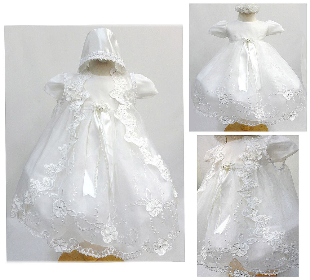 Baby Girl White Gown Christening Baptism Dress Size 0 6 6