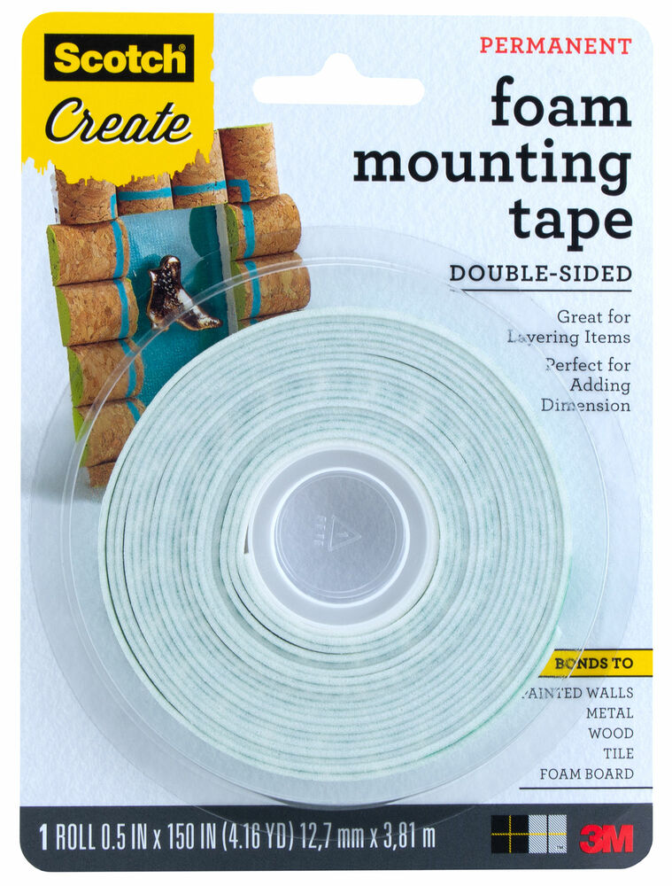 3m scotch foam mounting tape double sided 1 2 x 150 ebay. Black Bedroom Furniture Sets. Home Design Ideas