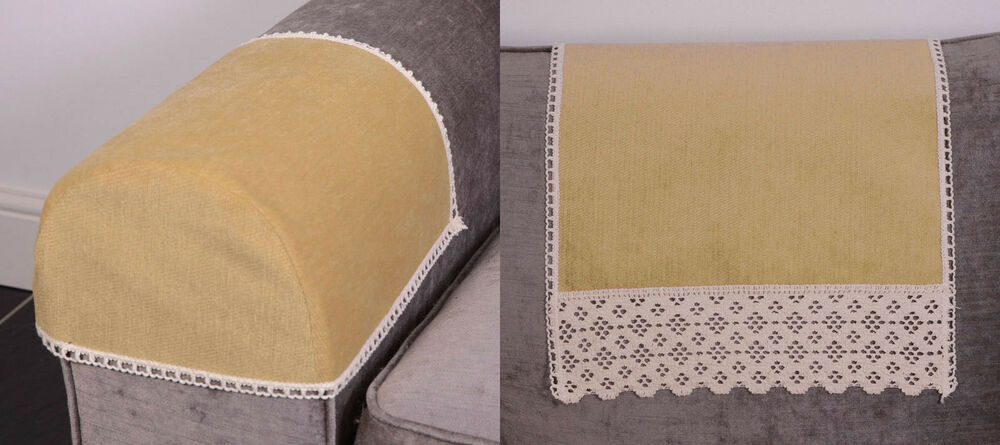Chenille gold arm caps and chair backs sofa furniture covers protector ebay