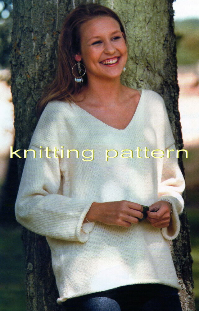 KNITTING PATTERN LADIES BOYFRIEND SLOUCH JUMPER ARAN EASY KNIT #275 FREEPOST ...