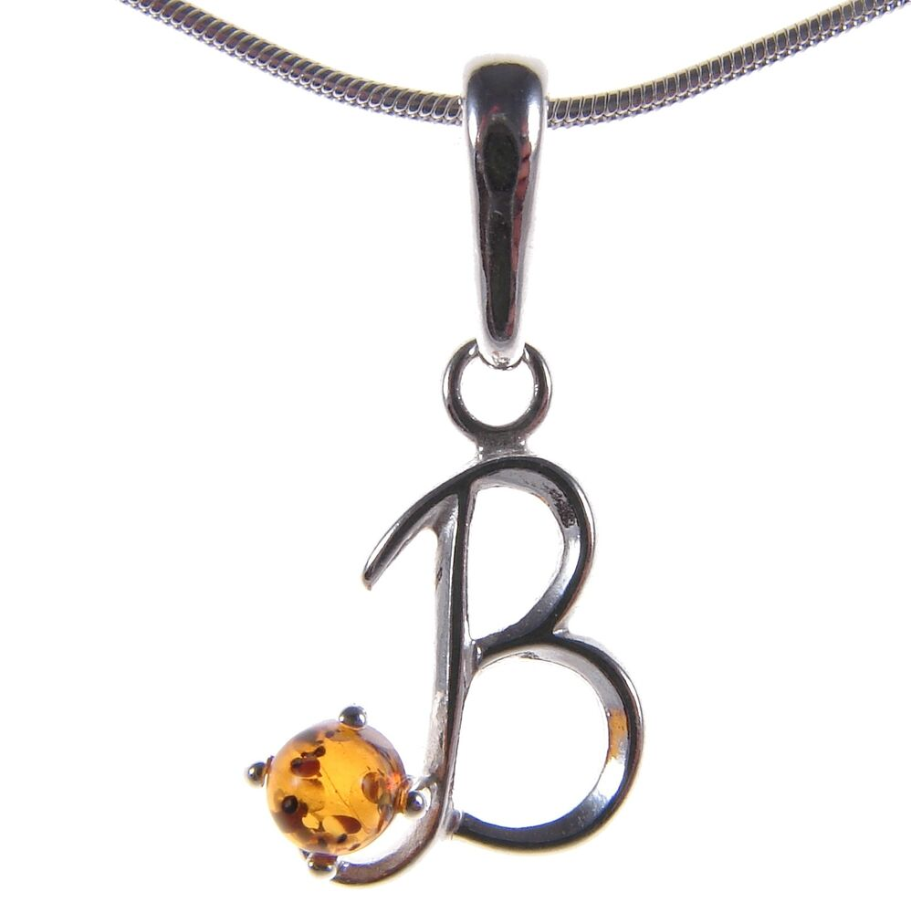 Alphabet Jewelry: BALTIC AMBER STERLING SILVER 925 ALPHABET LETTER B PENDANT