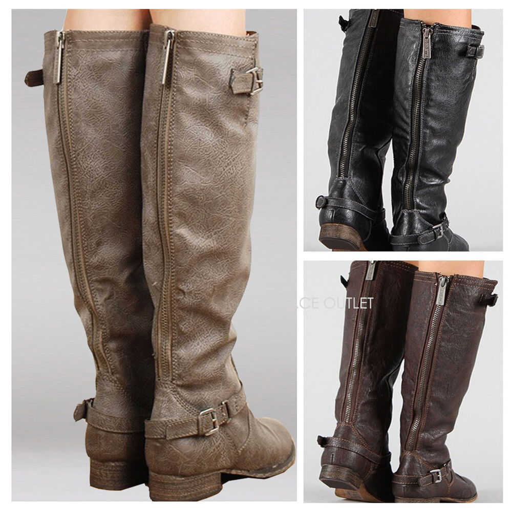 Simple Womens Mid Calf Leather Look Fashion Riding Boots Flats Buckle Biker Ladies Size | EBay