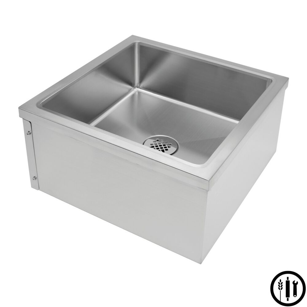 Mop Sink Stainless Steel : Stainless Steel Floor Mount Mop Sink- 24