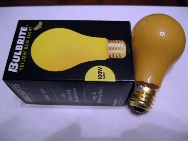 1-YELLOW BUG LIGHT BULB 100 WATT STANDARD A19 BASE DOES