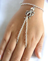 Silver Tone with Octopus Charm Hand Harness, Bracelet & Ring Armour, Slave Chain