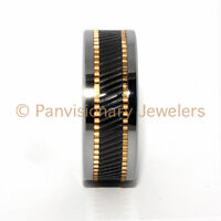 10MM Copper & Black Ceramic Inlay Notched Tungsten Carbide Wedding Band Ring