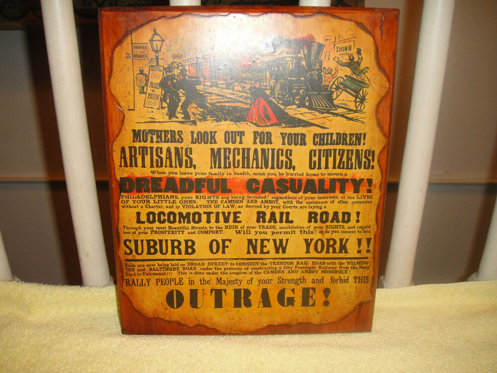 vintage railroad advertisement signwood plaque w