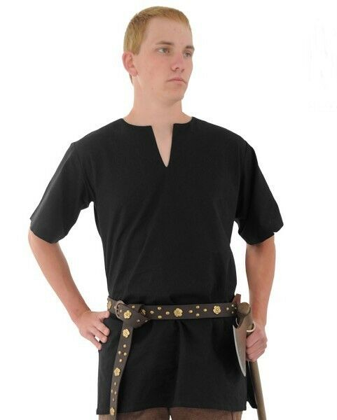 Medieval viking norseman saxon mens short sleeve black for Mens black short sleeve dress shirt