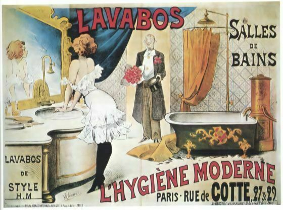 vintage advertisment poster lavabos salles de bains wia041. Black Bedroom Furniture Sets. Home Design Ideas