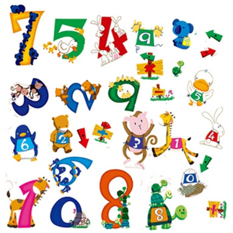 0 9 Animal Numbers Removable Wall Sticker Home Kids Early