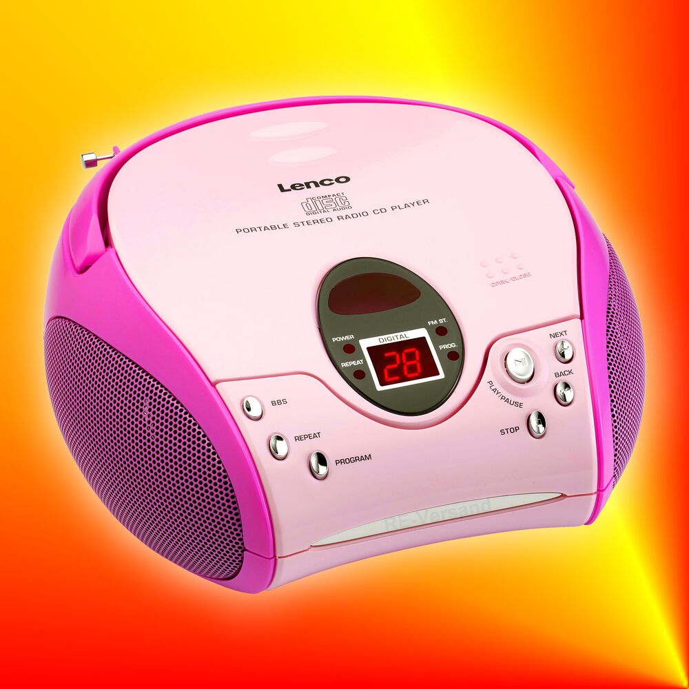 lenco scd 24 pink stereo ukw fm radio mit cd player boombox kinder ebay. Black Bedroom Furniture Sets. Home Design Ideas