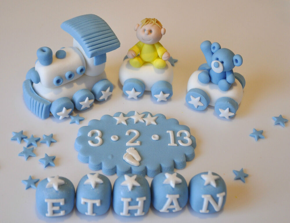 Edible christening baby train teddy decoration birthday for Baby boy cake decoration